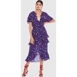 NEW TALULAH The Yearning Ruffle Blue Midi Dress